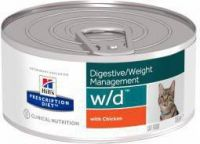 - Hill's Prescription Diet W/D Kip 156 gr blik kattenvoer 2 trays(48 blikken )